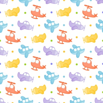 Childish seamless pattern with airplanes
