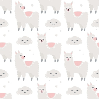 Childish seamless pattern with alpacas and clouds
