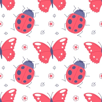 Childish seamless pattern with butterflies and ladybugs