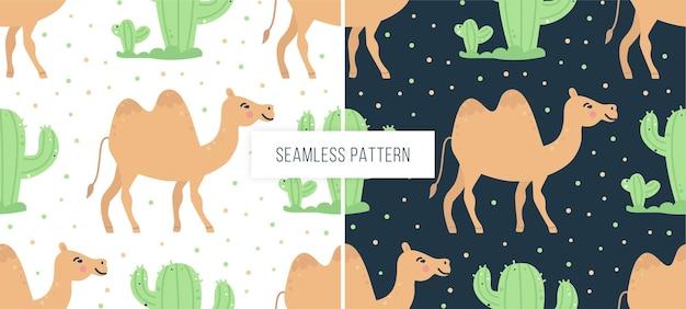 ラクダとサボテンの幼稚なシームレスパターン