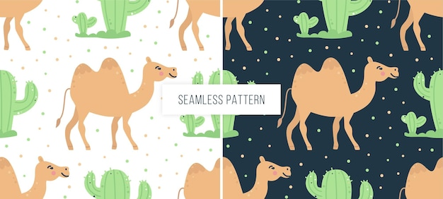 Childish seamless pattern with camels and cacti