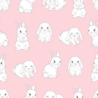 Childish seamless pattern with cartoon bunnies