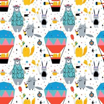 귀여운 동물 곰, 여우, 토끼, 풍선과 함께 유치한 매끄러운 패턴입니다.
