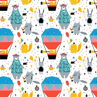 Childish seamless pattern with cute animals bear, fox, bunny and balloon.