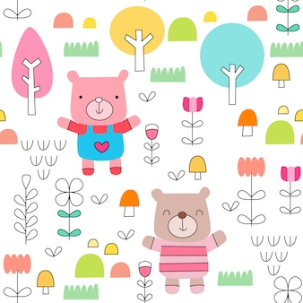 Childish seamless pattern with cute baby bear