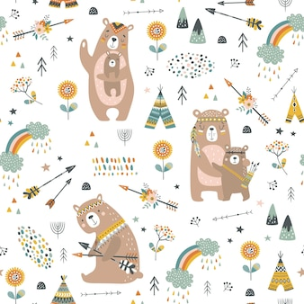 Childish seamless pattern with cute bears in cartoon style.