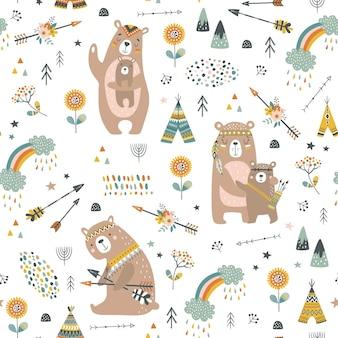 漫画風のかわいいクマと幼稚なシームレスパターン。