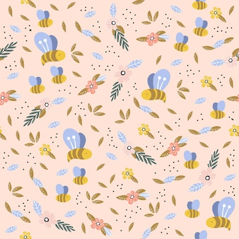 Childish seamless pattern with cute, bee and flowers in scandinavian style