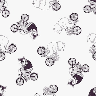 Childish seamless pattern with cute cartoon bears wearing shirt and bow tie riding bicycles on white