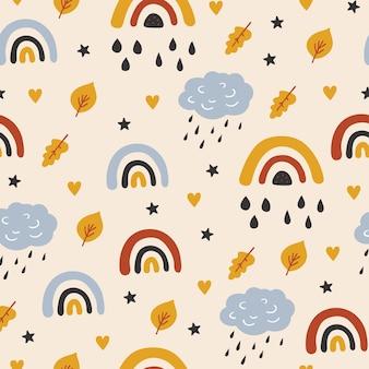 Детский бесшовный образец с милыми облаками радуги уходит в скандинавском стиле