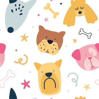 かわいい創造的な犬との幼稚なシームレスパターン。スカンジナビアスタイルのテクスチャ。動物のシームレスな漫画イラスト。子供服、布、テキスタイル、保育園の装飾、包装紙に最適です。