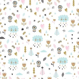 귀여운 꽃과 구름 만화 스타일에 유치 한 완벽 한 패턴입니다.