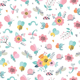 Childish seamless pattern with cute flowers, bee, snail, moth, dragonfly in cartoon style.