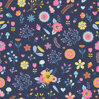 Childish seamless pattern with cute flowers in cartoon style.