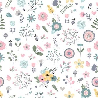 만화 스타일에 귀여운 꽃으로 유치 한 완벽 한 패턴입니다.