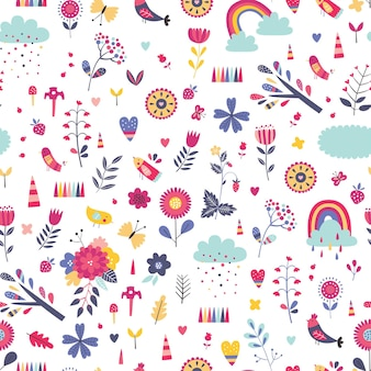Childish seamless pattern with cute flowers, rainbows and clouds in cartoon style.