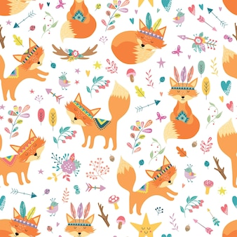 Childish seamless pattern with cute foxes in cartoon style.