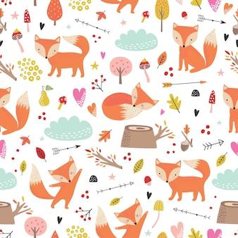 만화 스타일에 귀여운 여우와 유치 한 완벽 한 패턴입니다.