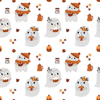 Childish seamless pattern with cute ghosts autumn festive print for textile with cartoon ghost
