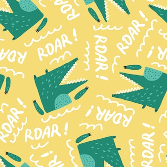 Childish seamless pattern with cute growling alligator.