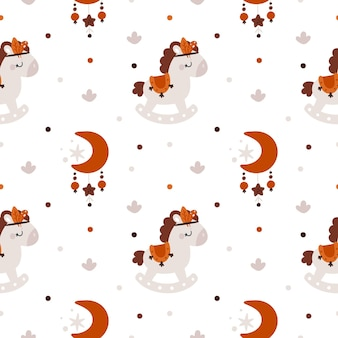 Childish seamless pattern with cute horse and moons in boho style for newborn girl or boy