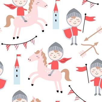 Childish seamless pattern with cute knight.