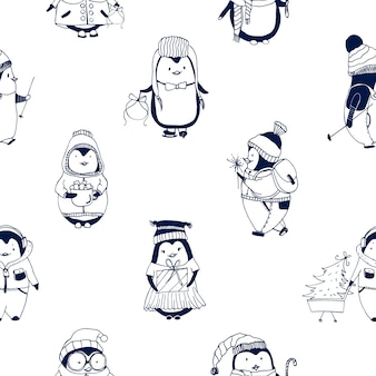Childish seamless pattern with cute little baby penguins dressed in winter outerwear