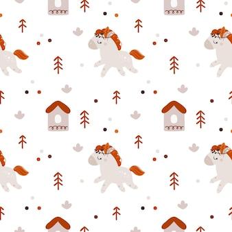 신생아 소녀 또는 소년을위한 귀여운 만화 말과 함께 유치 원활한 패턴