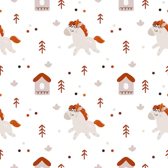 Childish seamless pattern with cute little cartoon horse for newborn girl or boy