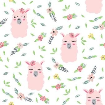 Childish seamless pattern with cute llamas.
