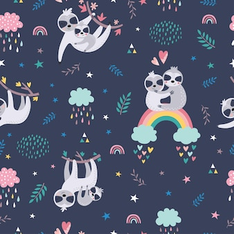 Childish seamless pattern with cute sloths.