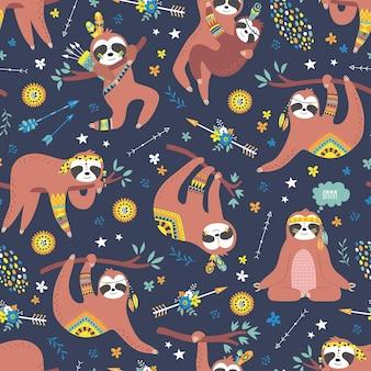 かわいいナマケモノの幼稚なシームレス パターン