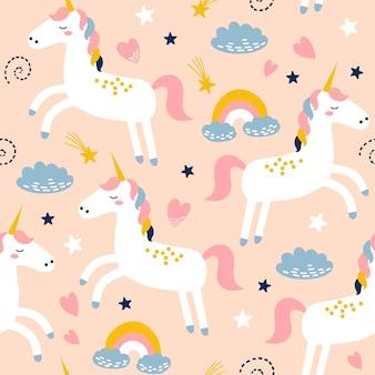 Childish seamless pattern with cute unicorn.