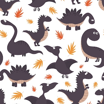Childish seamless pattern with dinosaurs and tropical leaves.