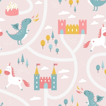 Childish seamless pattern with dragon, castle, unicorn