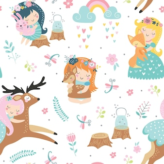 Childish seamless pattern with forest fairies and baby animals.