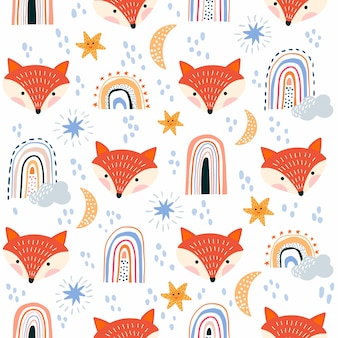 Childish seamless pattern with fox and rainbows