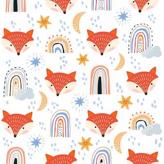 Childish seamless pattern with fox and rainbows