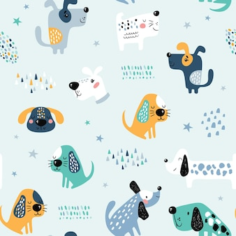 Childish seamless pattern with funny dogs.
