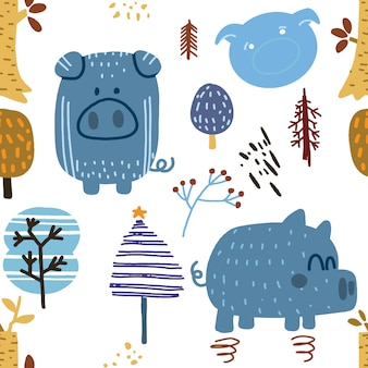 Childish seamless pattern with funny pig