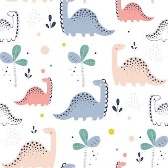 Childish seamless pattern with hand drawn dino in scandinavian style creative vector childish