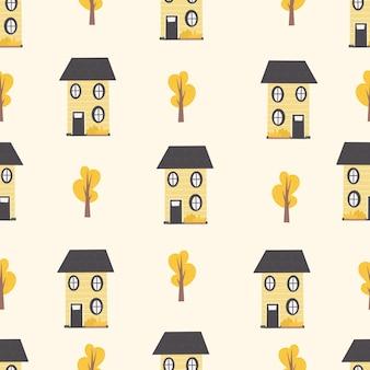 家の木と幼稚なシームレスパターン
