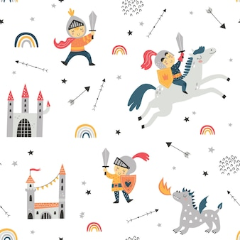 Childish seamless pattern with knight dragon and castle perfect for kids design fabric wrapping