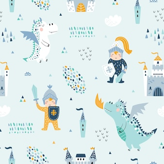 Childish seamless pattern with knight, dragon and castle.