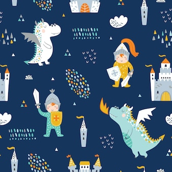 Childish seamless pattern with knight, dragon and castle