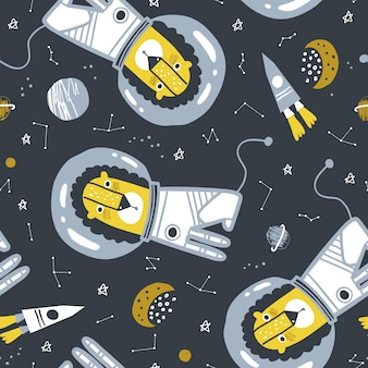 Childish seamless pattern with lion astronaut