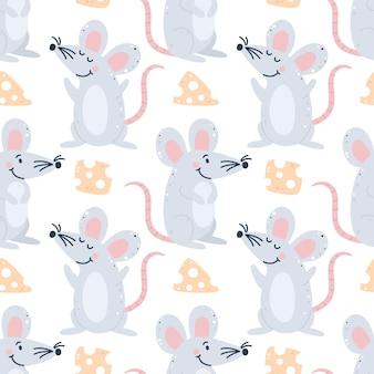 マウスとチーズの幼稚なシームレスパターン