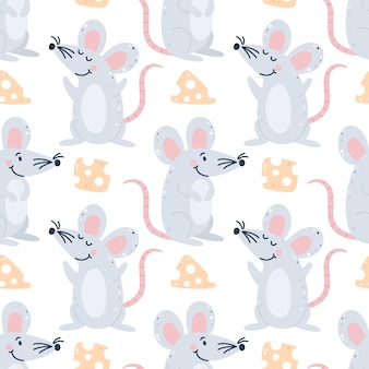 Childish seamless pattern with mice and cheese