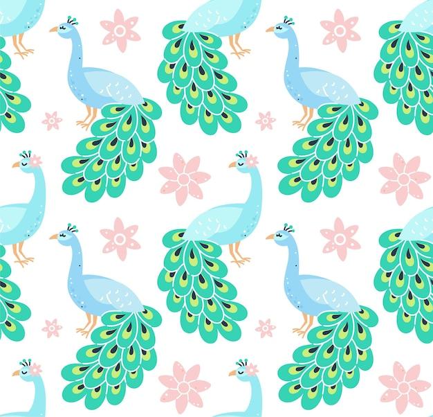 孔雀と花と幼稚なシームレスパターン