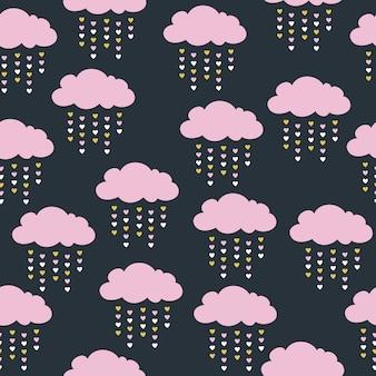 ピンクの雲と幼稚なシームレスなパターン